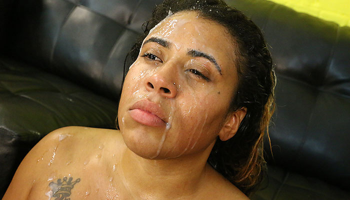 Latina whore Miguelina Acosta gets a rough throat fucking on Latina Throats